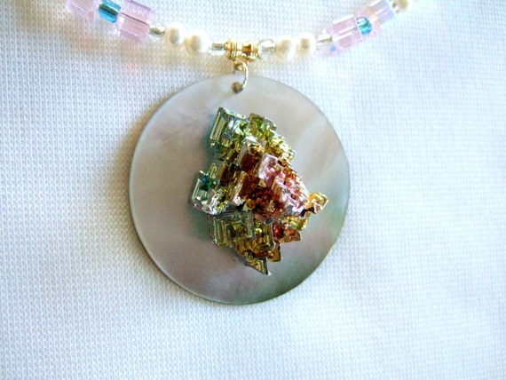 Unique iridescent rainbow bismuth crystal MOP by JewelrybyIshi from etsy.com
