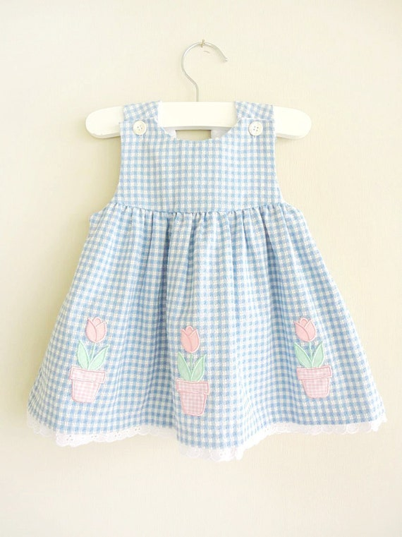 vintage dress : BLUE GiNGHAM pink flower dress (6-9mo)