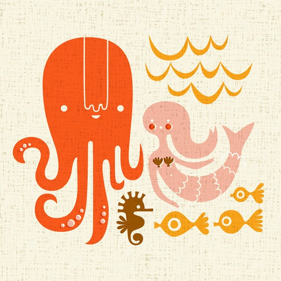 sale. octopus garden giclee print. 12X12.