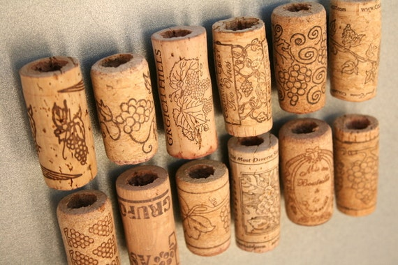 Wine Cork Magnets DIY Set of 12