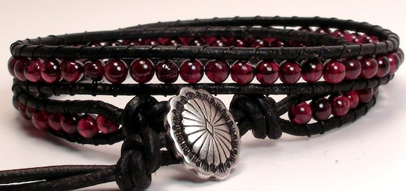 Garnet Leather Wrap Bracelet