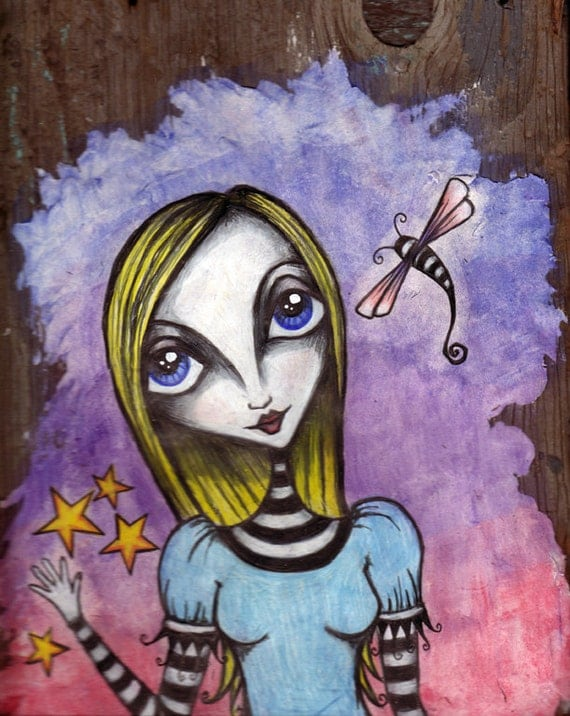 Alice Waves Goodbye - Original Mixed Media Piece on Wood