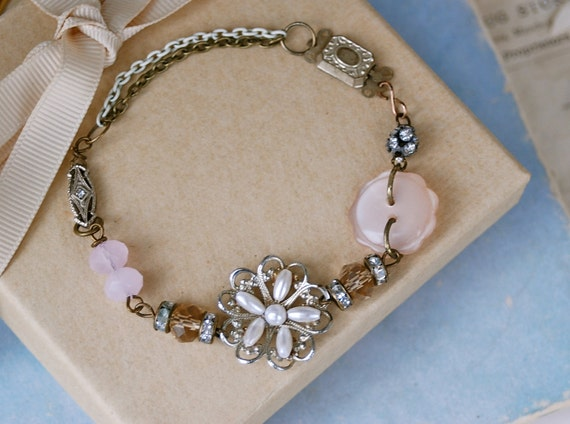 Clara..vintage assemblage ooak bracelet. Tiedupmemories