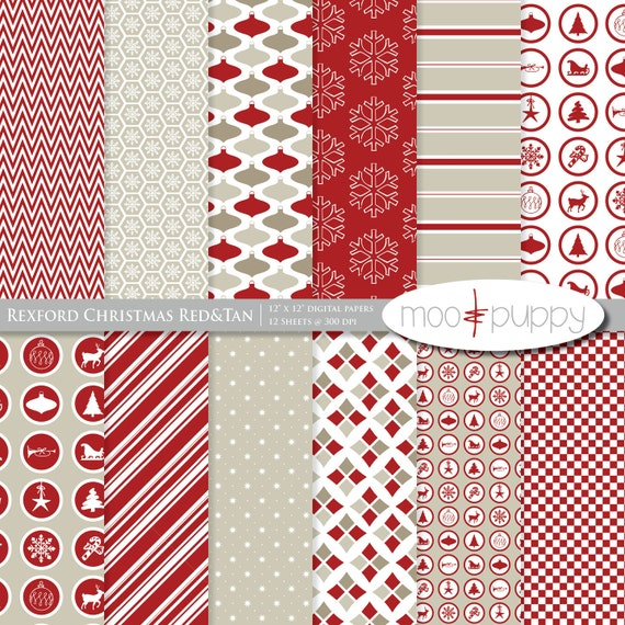 Christmas Digital Scrapbook Paper Pack and Clip Art- Rexford Red&Tan   (Buy 2 Get 1 Free) Personal and Small Commercial Use