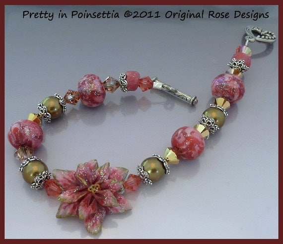 Pretty in Poinsettia - A frilly, feminine, Holiday Bracelet of Polymer Clay, Swarovski Crystal and Pearls--free shipping (domestic U.S.)