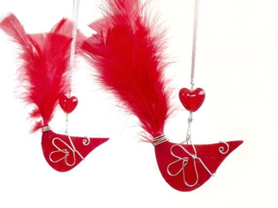 TWO Red White Bird Stained Glass Suncatchers Handmade OOAK Sun Catcher Car Mirror Jewel Mobile Gift Tag 247