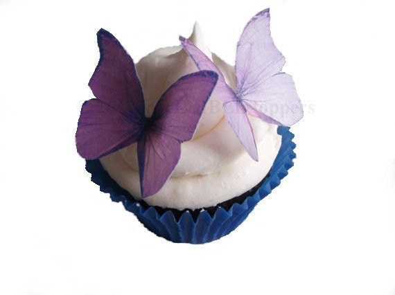 24 Edible Butterflies Purple and Lavender Cake Decorations Butterfly