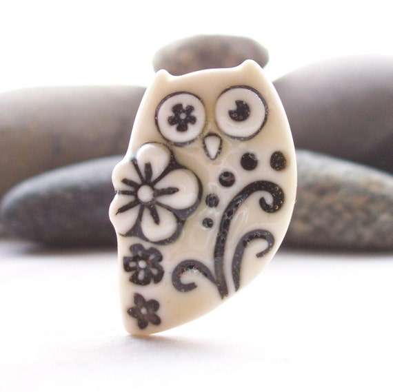 Owl Brooch Pin Handmade Porcelain Cream yellow glazed