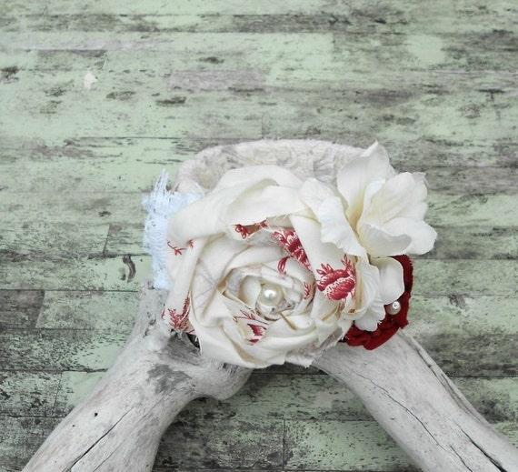 Рождество Corsage манжеты французский страны бежевый красный браслет braclet Потертый шикарный старинный браслет ткани чулок писака