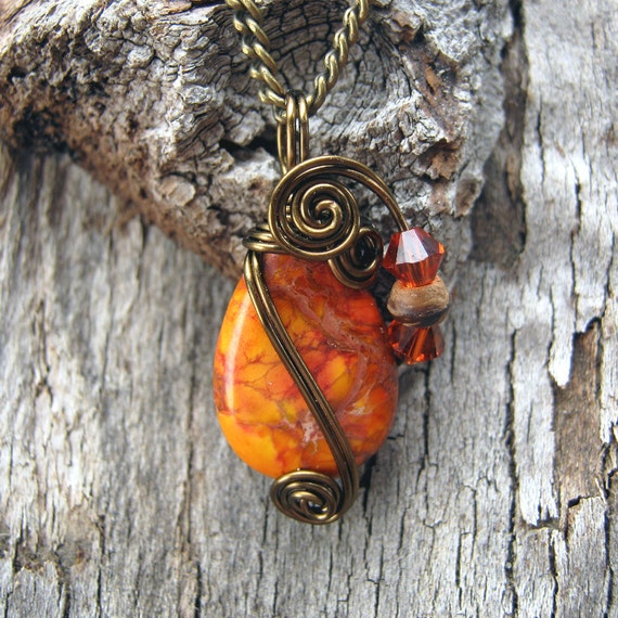 Orange Sea Sediment Jasper Wire Wrapped Pendant Necklace in Antique Bronze