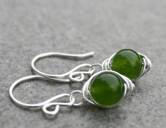 Pea- Green Jade Petite Earrings Silver Gemstones Handmade
