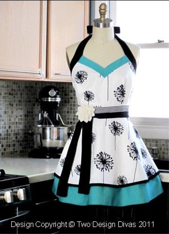 Womens Kitchen Apron - PLUS SIZE - Fully LINED Apron - Double Skirt Aprons - Heavy Fabrics