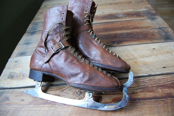 Vintage 1920's The Starr Manufacturing Co. Leather Boot Figure Skates, Halifax Nova Scotia, Canada