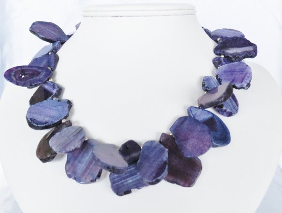 Regal Purple Agate Slab and Sterling Silver Statement Necklace - Purple Agate Statement Necklace