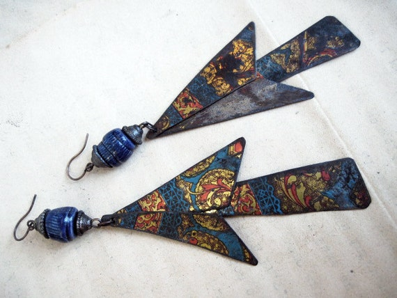 Shoulder Duster Dangles with Ceramic Art Beads. Recycled tin triangles.