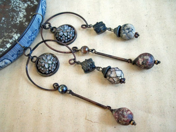 Rustic Gypsy Assemblage Dangles with Polymer Art Beads.