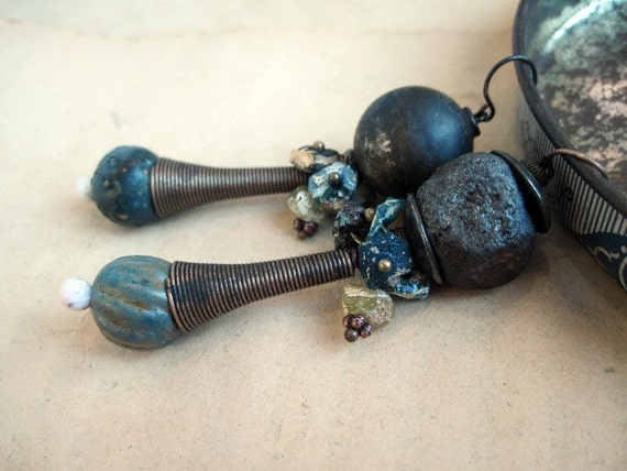 Tribal dangles with ceramic art beads and ancient roman glass. Dark turquoise gypsy assemblage.