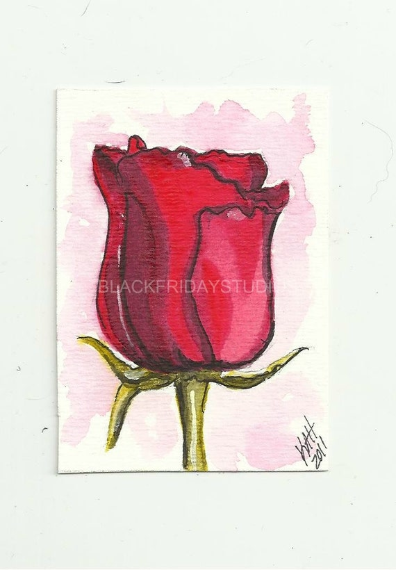 Art Red Rose Original Art Card