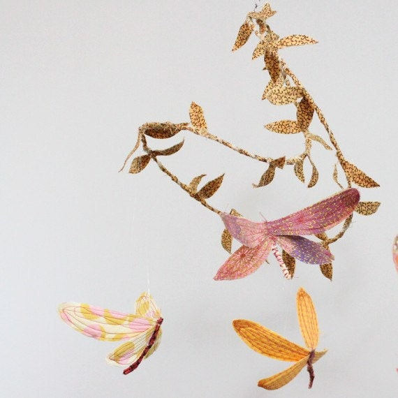 CUSTOM Dragonfly Mobile - handmade fabric mobile for Woodland Nursery Decor