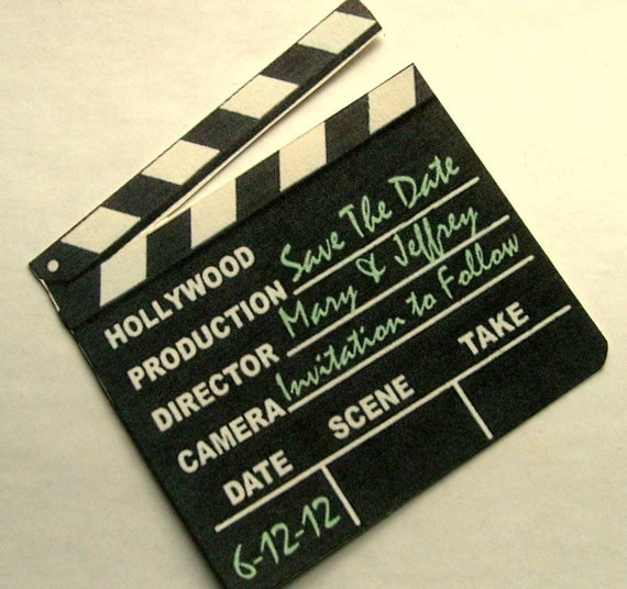 save the date, magnet, hollywood clapper sign, unique, set of 12