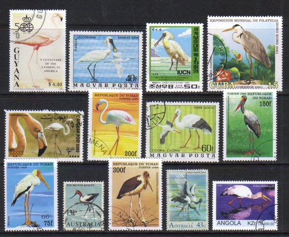Vintage postage stamps - Flamingo and other wading birds