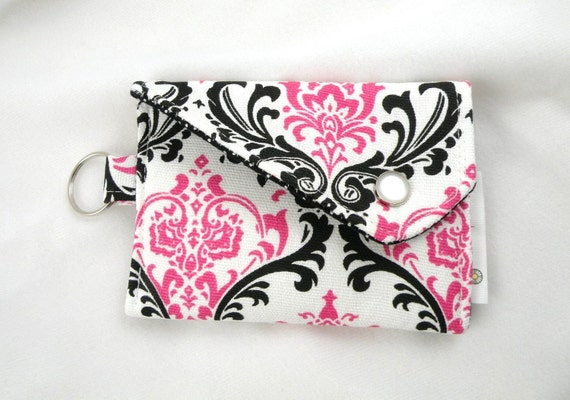 Card Holder-Coin Purse--Hot Pink-White-Black Madison with Snap Flap Closure and Key Ring