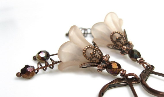 Flower Earrings, Champagne, Bronze, Copper, Lucite Flowers, Czech Glass