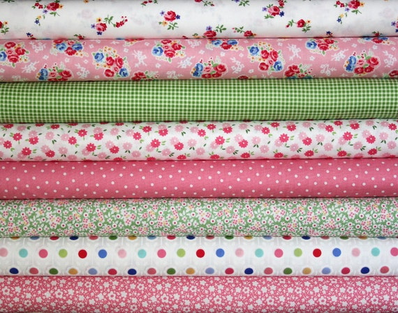 fat quarter bundle--8 pieces (2 yards total) from the Pam Kitty Morning Collection, Lakehouse Dry Goods