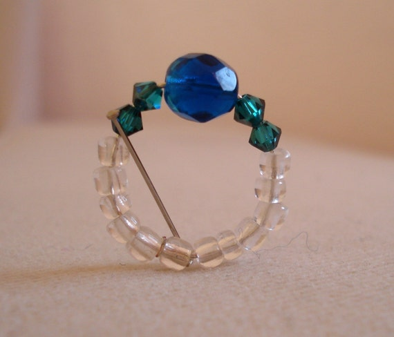 Ring blue crystal beaded upcycled solitaire jewelry free shipping