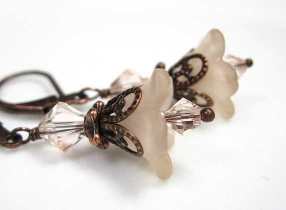Flower Earrings, Champagne, Copper, Swarovski, Lucite