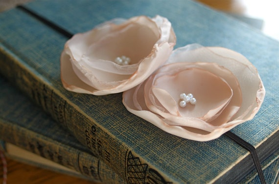 nude satin flower headband