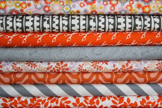 fat quarter bundle (tangerine and steel)--misc. designers--8 pieces--2 yards total