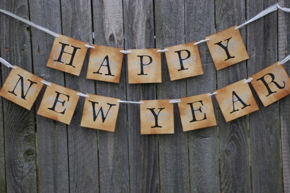Happy New Year Banner - New Year- Vintage Inspired