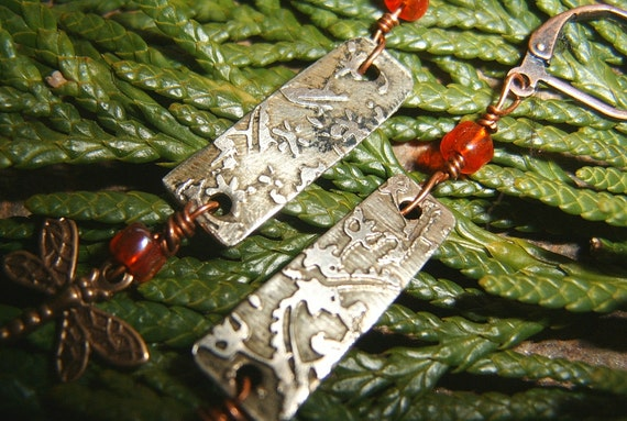 Etched Nickel, Copper, and Brass Dragonfly Earrings