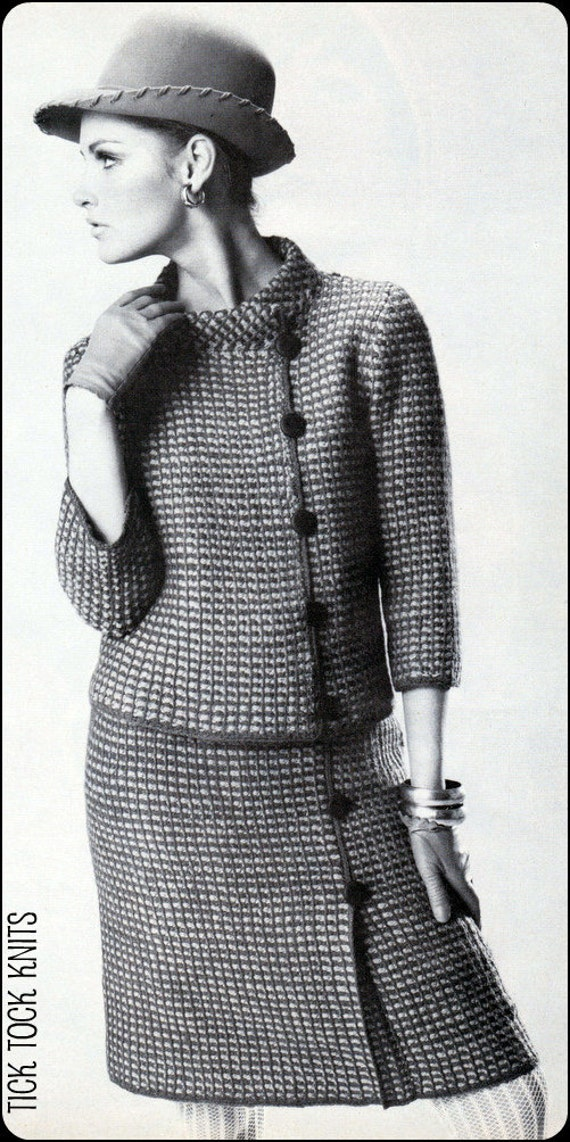 No.164 PDF Vintage Crochet Pattern Women's Afghan Stitch, Plaid Asymmetrical Jacket & Skirt - Sizes 10, 12, 14, 16, 18