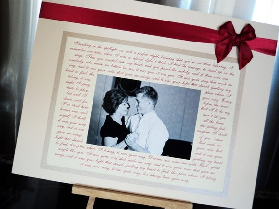 Wedding Gift for Parents Personalized 8x10 Wedding Photo Mat to Frame with