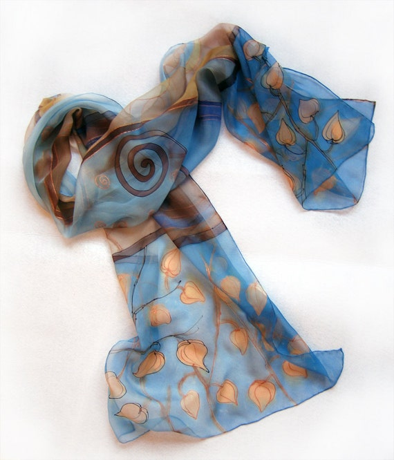Hand painted silk chiffon scarf Chinese Lantern in blue sands colors scheme