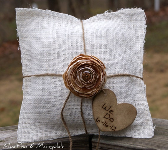 Ivory Burlap Pillow, YOU pick the Flower color, PERSONALIZED Rustic Heart Charm