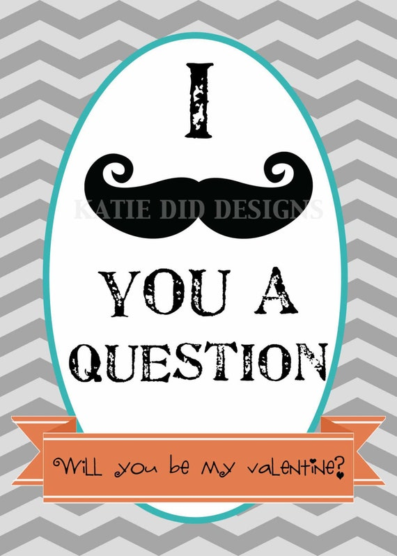 valentine's day card mustache, post card, digital, printable file (item1004)