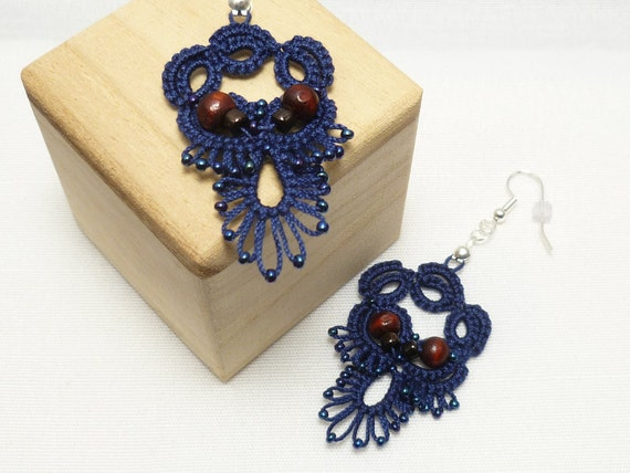 Tatted Earrings in Navy with wood and dark bronze glass beads - Allure