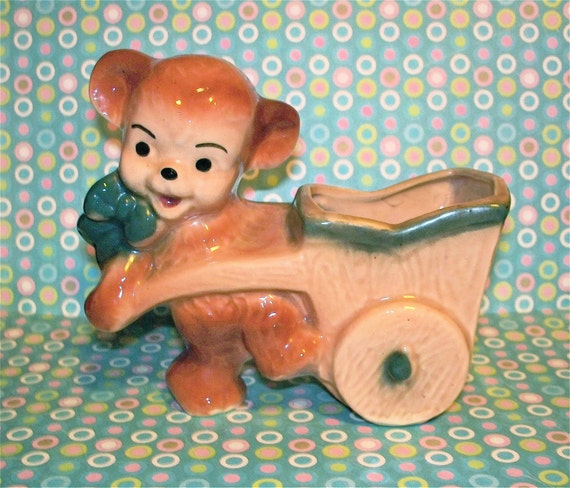 Vintage  Kitsch Teddy Bear with Cart Planter