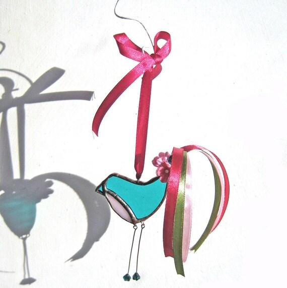 Little Dandy Bird no.69 stained glass bird suncatcher
