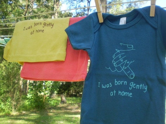 I was Born Gently at Home, Organic Cotton Baby/Toddler T-shirt, Boy, Blue.
