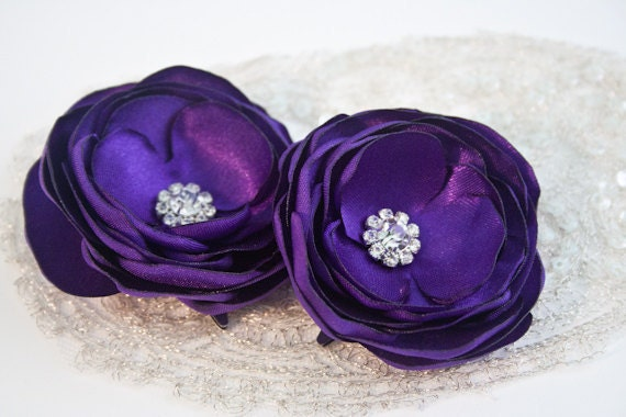 Royal Purple Wedding Flower Hair Clips With Rhinestones Purple Bridal Hair