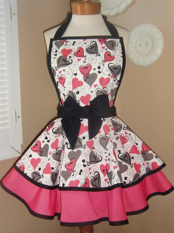 Valentine's Swirly Heart Print Womans Retro Apron With Tiered Skirt And Bib