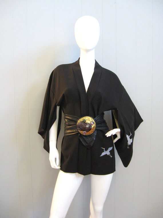 1930s Vintage Japanese black KIMONO JACKET with CRANES boho