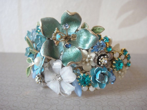 Bridal cuff bracelet in peacock blue and white - vintage shabby chic style - repurposed statement art - flowers wrist corsage
