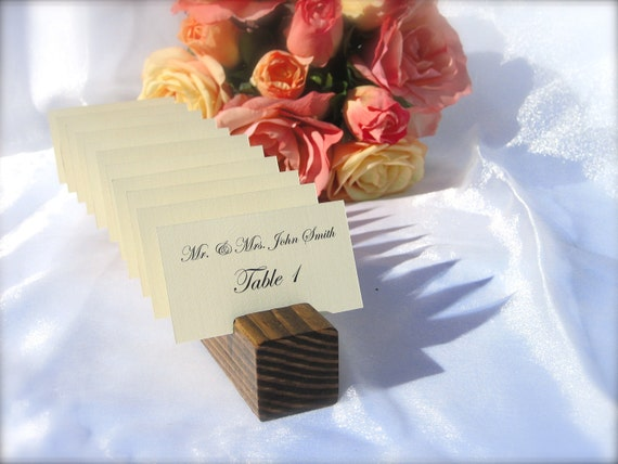 Rustic Wood Place Card Holder- Set of 1  (holds 10 place cards)