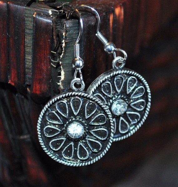 Mayan Sheild silver earrings