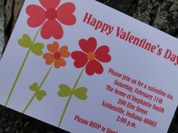 Heartful Flowers ValentinE  Invitation(set of 10)